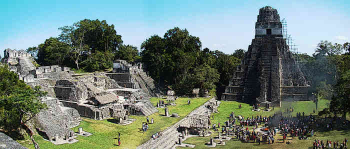 Ancient Mayan City Tikal Tikal Plaza And North Acropolis during winter solstice celebrations