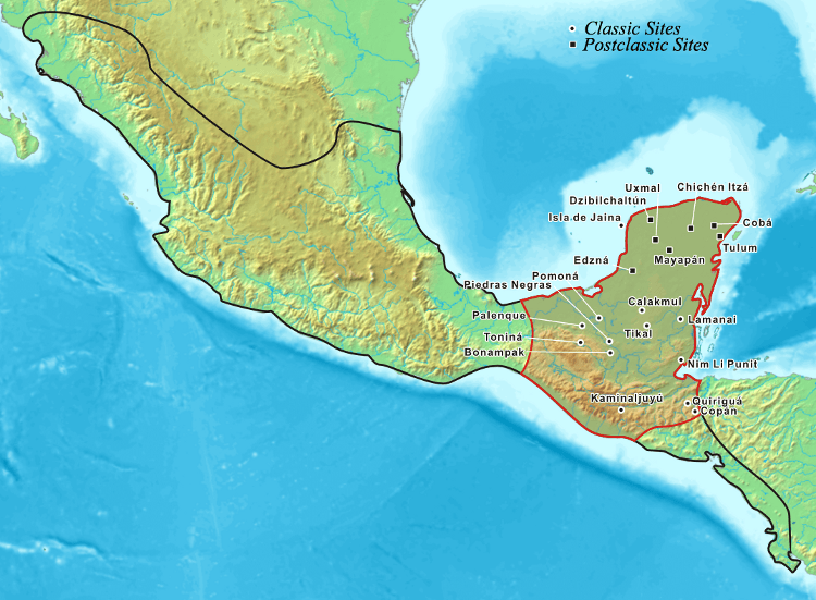 Location of all the Major Ancient Mayan Cities in mesoamerica